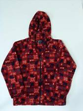 LANDS' END Girls Youth Fleece Holiday Red M 10 12 Hoodie Sweater EUC FS