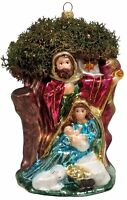 Holy Family Nativity Scene with Tree Polish Glass Christmas Ornament Decoration