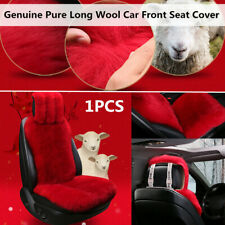 1PCS Red Genuine Pure Long Wool Car SUV Front Seat Cushion Cover Pad Warm Winter