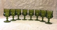Set of 8 Vintage INDIANA GLASS Kings Crown GREEN Wine Thumb  Goblets Stemware