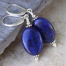 925 Sterling Silver Natural Blue Lapis Lazuli Oval Drop Hook Earrings