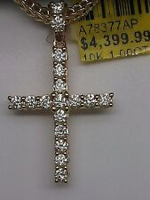 10k Yellow Gold 1.00 CT Genuine Full Cut Round Diamond Cross Pendant,