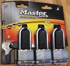 Masterlock Excell Largo Caña Pesado D Candado M1TR nivel 8 Triple Pack Conjunto de 3