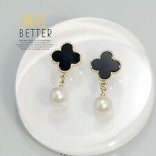 Boucles d`Oreilles Clips Doré Perle Trèfle Lucky Fleur Noir Vintage YW4