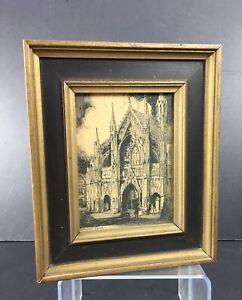 Cathedral Spires Vintage Frame Drawing St. Original Artist's Sketch