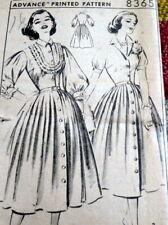 *LOVELY VTG 1950s DRESS ADVANCE Sewing Pattern 16/34