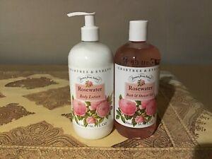 Crabtree & Evelyn ROSEWATER Body Lotion Bath & Shower Gel  Set JUMBO SIZE