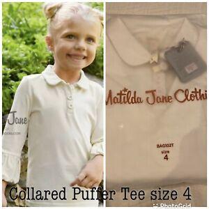 MATILDA JANE Girl's Size 4 ~ WHITE COLLARED PUFFER SLEEVE TEE TOP ~ NWT