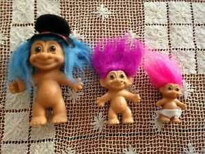 "VINTAGE SET OF 3 RUSS TROLLS 4.5"", 3"", 2""  BLUE w Hat, PURPLE & PINK HAIR"