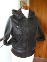 Ladies NEXT Brown Leather Jacket coat hoody bomber biker size UK 16 indie