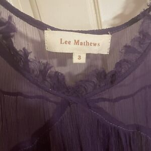 Lee Mathews Silk Ruffle Dress size 3 Indigo