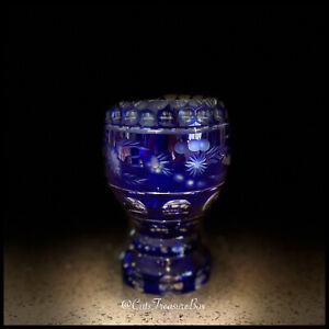 BOHEMIAN Czech crystal Style Cut To Clear Cobalt Blue Glass Goblet Chalice Vase
