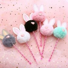 Cute Pen with Candy Rabbit Fur Fluffy Decoration School Stationary Gift for Kids