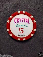 $5 Crystal Casino Chip Aruba - Excellent Condition