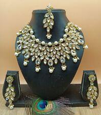 Indische Perlenschmuck Bollywood Halskette Ohrringe Tikka Jewellery Set
