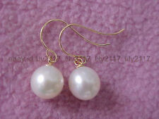 AAA PERFECT ROUND WHITE 9-10MM SOUTH SEA PEARL DANGLE EARRING 14K YELLOW GOLD
