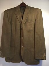 Polo Ralph Lauren Mens Suit Jacket 40 Regular Silk Linen Italy Safari Cut Olive