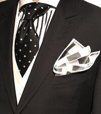 Pocket Square Plaid Black & White & White Stitched Borders By Squaretrapny.com
