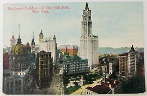 Vintage New York City NYC New York NY Woolworth Building and City Hall Park