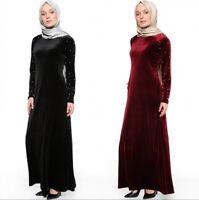 Dubai Women Velvet Abaya Islamic Lady Muslim Kaftan Maxi Dresses Vintage Robe