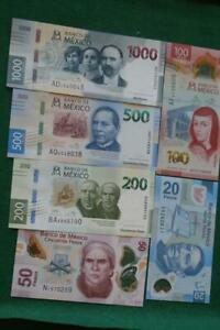 Lot of 6 Mexican 20,50,100, 200, 500 & 1000 UNC Pesos Bills Currency Current