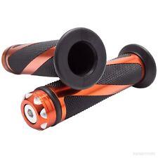 "Handle Bar 22mm Left Right Orange Universal CNC Twist Hand Grip 7/8"" Rubber"