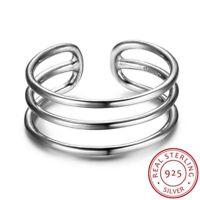 Damen Ring Drei Reihen echt Sterling Silber 925 größenverstellbar 48-52 schmal