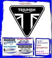"TRIUMPH Motorcycle MotorBike Tank Fairing Stickers Decals 4"" PAIR 100MM BLACK"