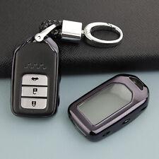 For Honda Civic CR-V HR-V Accord Smart Car Key Chain Case Fob Cover Holder Black