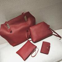 4PCS Women Leather Handbag Shoulder Bag Lady Clutch Purse Tote Messenger Satchel