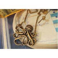 Vintage Octopus Pendant Long Chain Bronze Necklace