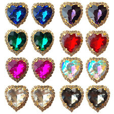 Large Heart Crystal Diamante Stud / Clip on Earrings Wedding Party Favour Gift