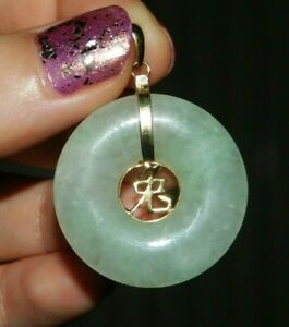 Fine Vintage 14ct / 14K 585 Gold Chinese Symbol Celadon Green Jade Disc Pendant