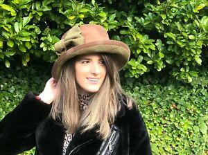 New Ladies Tan Brown Wax and Tweed Waterproof Outdoor Walking Country Hiking Hat