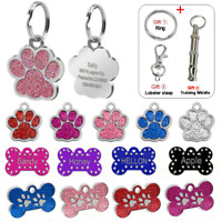 Rhinstone Bone Paw Personalized Dog Tags Disc Disk Pet Dog ID Name Free Engraved