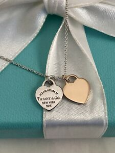 "Tiffany & Co 18K ROSE GOLD & Silver Mini Double Heart Tag Pendant Necklace 16"""