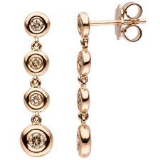 Damen Ohrhänger 585 Gold Rotgold 8 Diamanten Brillanten braun Ohrringe