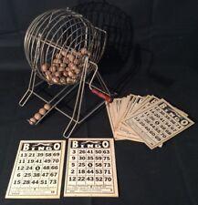 Rare Vtg 20s-30s METAL BINGO GAME TUMBLER CAGE w/ Wood Balls 20 Greyhound Cards