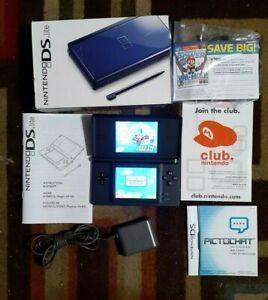 Nintendo DS Lite Cobalt/Black Console With Original Box/Manual/Inserts/No Stylis