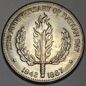1967 Philippines Silver One Peso Choice Mint State 90590p