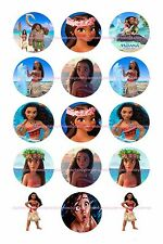 "MOANA  BOTTLE CAP IMAGES 15 1"" CUPCAKE TOPPERS BOWS     *****FREE SHIPPING*****"