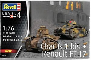 Revell Germany Char B.1 bis and Renault FT.17, 2 Model Kits in 1 1/76 3278  ST
