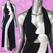 Vintage 70S Maxi DRESS Gown Black & White Halter Sexy Cutouts S-M