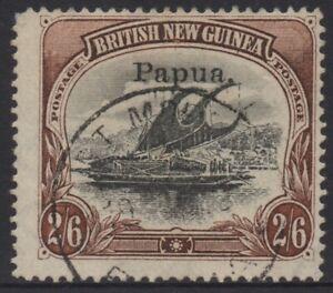 PAPUA (BNG) 1907 2/6d BLACK-BROWN LAKATOI VFU (SMALL OVP) WMK COMB PERF. SG.45a