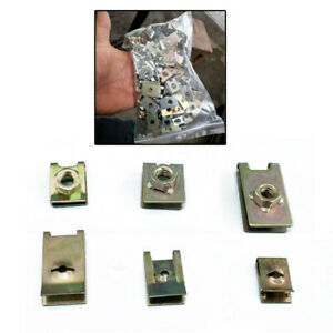 100Pcs Mixed Car Door Panel Fastener Fixed Screw U Type Gasket Fender Metal Clip
