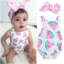 2PCS Newborn Baby Girl Clothes Watermelon Romper Jumpsuit Outfit Summer