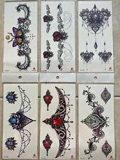 6 x Women Temporary Body Chest Waist Art Tattoo Sticker Choker Pendant