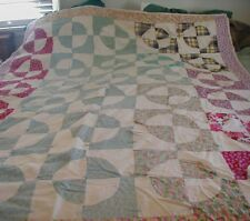 Vtg Feedsack Quilt Hand Pieced Tied Snowball Indiana Puzzle Patchwork Cutter Dam