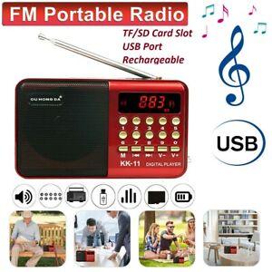 Rechargeable Mini Digital Portable Radio MP3 Music Player FM USB SD Card Speaker