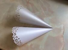 CONFETTI/CANDY CONES  PEARLY WHITE & SILVER ROSE DESIGN X 20